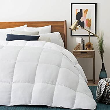 LUCID Down Alternative Comforter - Hypoallergenic - All Season - 400 GSM - Ultra Soft and Cozy - 8 Duvet Loops - Box Stitched - 3 Year Warranty - Machine Washable - King - White