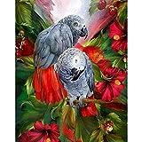 DIY Pintar por númerosFlor de Loro Sala de Estar Completa decoración del hogar Animal 40x50cm Sin Marco