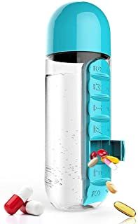 Gijoki 2 In 1 Portable 600ml Water Bottle With Built-in Daily Pill Box Organizer Water Bottles