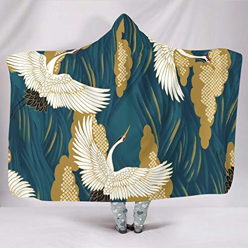 Super Weich Mit Kapuze Decken Vintage Japanisch Große Welle vor Kanagawa Fliegend Rot-gekrönt Kräne Ukiyoe Traditionell Folklore Druck Warmer Winter Sherpa Fleece Magisch Poncho White 150x200cm