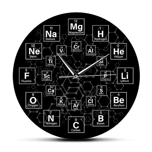 NIGU Día del miembro regalos para mujeres tabla periódica de los elementos símbolos químicos reloj de pared ciencia arte decoración aula reloj de pared química profesor regalo regalo para hombres