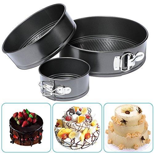 "Hiware Springform Pan Set of 3 Non-stick Cheesecake Pan, Leakproof Round Cake Pan Set Includes 3 Piece 4"" 7"