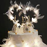Cake Toppers, Decoración la Torta Plumas, con Corona, Luz LDE, Happy Birthday Cake Topper, para Boda Fiesta Cumpleaños