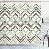 Ambesonne Chevron Shower Curtain, Vintage Overlapping Zigzag Lines Thin and Thick Stripes Old Classical, Cloth Fabric Bathroom Decor Set with Hooks, 84' Long Extra, Almond Green