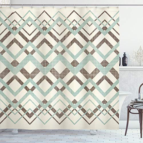 Ambesonne Chevron Shower Curtain, Vintage Overlapping Zigzag Lines Thin and Thick Stripes Old Classical, Cloth Fabric Bathroom Decor Set with Hooks, 75' Long, Almond Green
