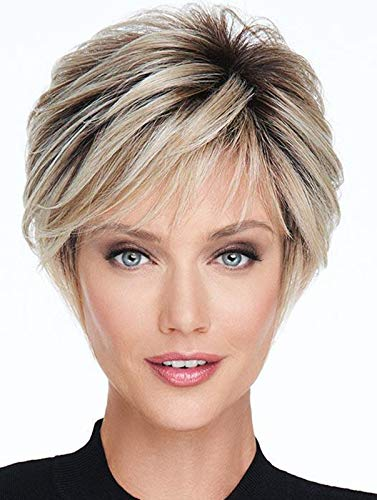ELIM Blonde Wigs for White Women, Short Bob Curly Pixie Cut Full Hair Wig with Bangs, Natural Cute Synthetic Wigs for Daily Use Party Date with Comfortable Wig Cap Z224