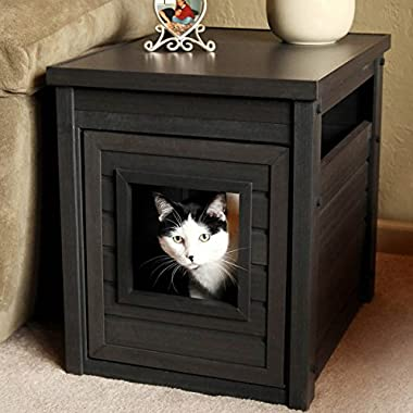 New Age Pet Habitat 'n Home Espresso Litter Loo End Table, Antique White by New Age Pet