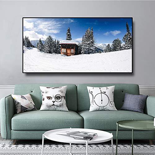 Nordic Decoratieve Thuis Canvas Schilderij Muurschildering Winterlandschap Poster En Print Muurschildering Foto Woonkamer Woondecoratie 40x20cm Geen