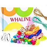 Whaline 30 Colors Plastic Lacing Cords with 20 Keychain Clips 20 Hooks and 10 Clasps, Gimp Bracelet Making Scoubidou Strings with Box for Christmas Deccor, DIY Craft Jewelry Making (492 feet)