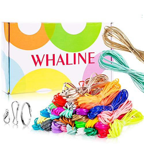 Whaline 30 Colors Plastic Lacing Cords with 20 Keychain Clips 20 Hooks and 10...