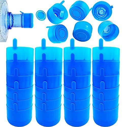 30 tapas de plástico para botellas de agua de 55 mm, reutilizables, color azul