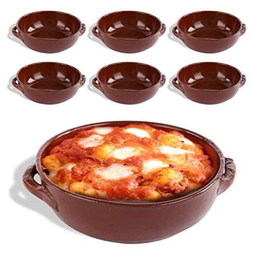 kasalingo 6 Tegami in coccio monoporzione da Forno 12 Cm, terrine di Terracotta Che esaltano Il Sapore Naturale dei cibi, Ciotole in Terracotta per zuppe, Pasta al Forno 100% Made in Italy.