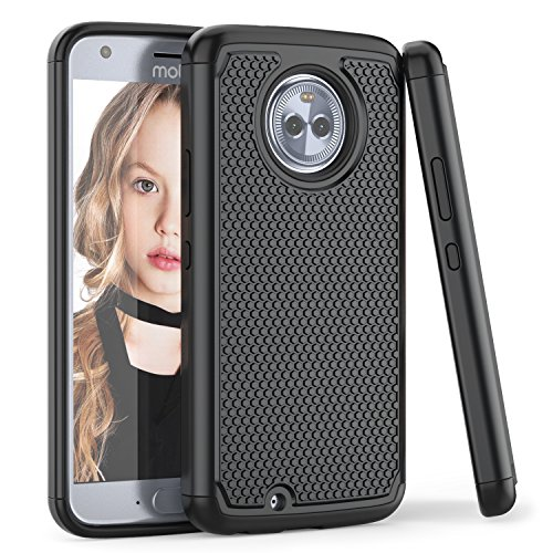Moto X4 Case, TILL(TM) [Black] [Shock Absorption] 2 In 1 Dual Layer Hybrid Armor Defender Rubber & Plastic Protective Grip Cute Case Cover Shell for Motorola Moto X 4th Generation 5.2Inch All Carriers