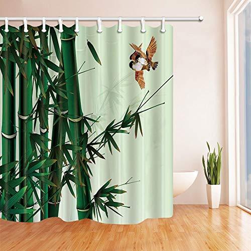 LRSJD handbeschilderde planten Decor vogel vliegen in de bamboe douchegordijnen polyester stof badkamer decoraties douchegordijn haken inbegrepen 71X71in