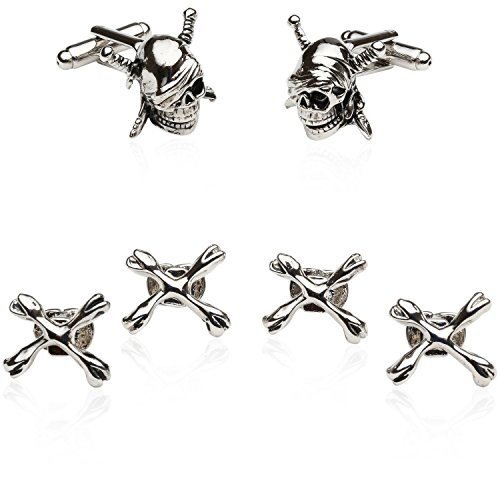 Cuff-Daddy Pirate Skull & Swords Cufflinks Studs Tuxedo Formal Set with Presentation Box