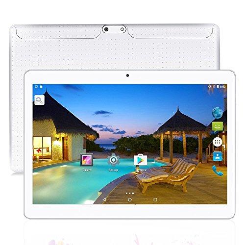 10.1 Tablet Android 7.0 Nougat, Slot per schede Dual SIM sbloccate 3G, Processore Octa-Core, DDR3 da 4 GB, Archiviazione da 64 GB (White)