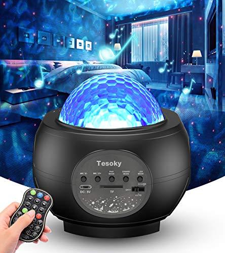 Sternenhimmel Projektor, Tesoky Nachtlicht Sternenhimmel Projektor Baby Kinder Erwachsense LED Einschlafhilfe Lampe -mit Musik/Starry/Dynamisch Wellen/Klang-kontrolliert/Bluetooth Lautsprecher