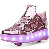 Ylllu Kids LED Skates Shoes USB Chargable Light up Roller Shoes Gift for Girls Boys Children