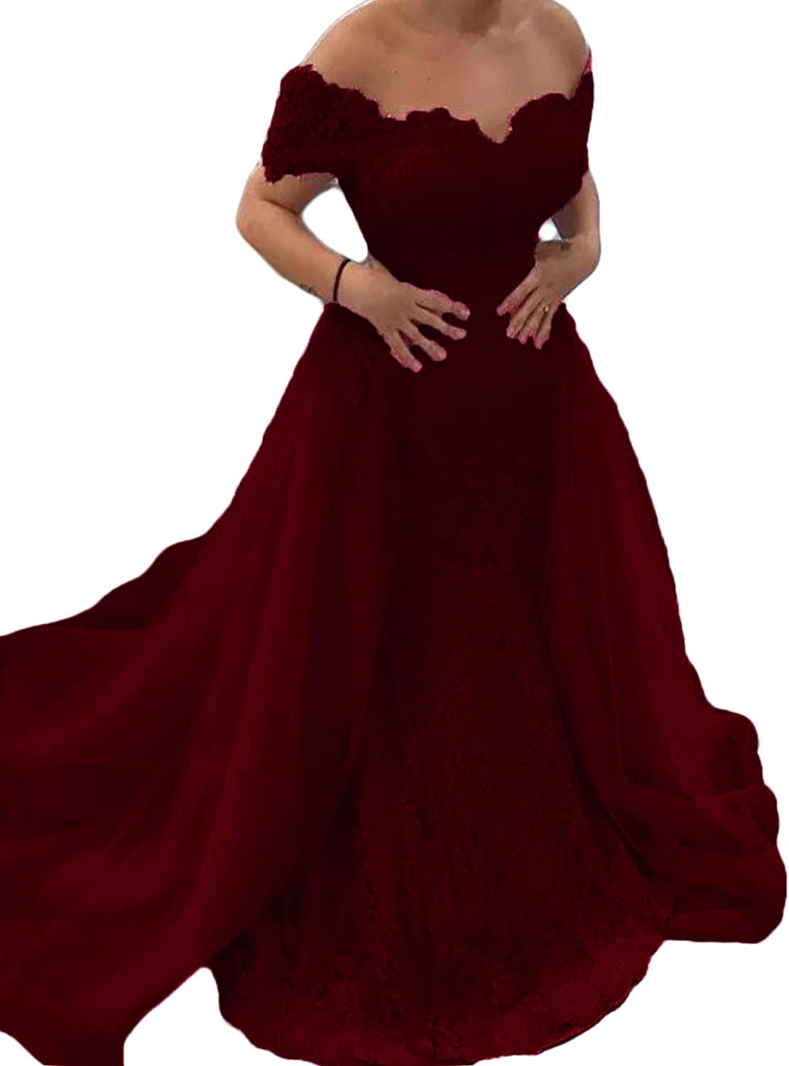 WZW Vintage Mermaid Evening Dresses with Detachable Train Lace Appliqued Prom Party Gown Off The Shoulder