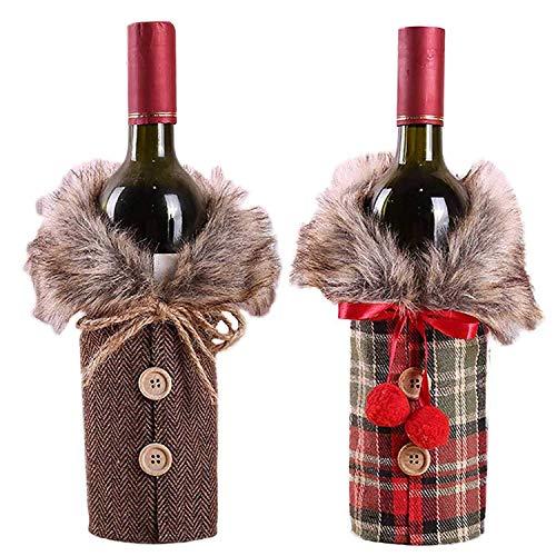Mlian - Juego de 2 Cubiertas para Botella de Vino, Disfraz Rojo de Navidad, decoración de Mesa de Cena, Fiesta, Regalo para Botella de Vino