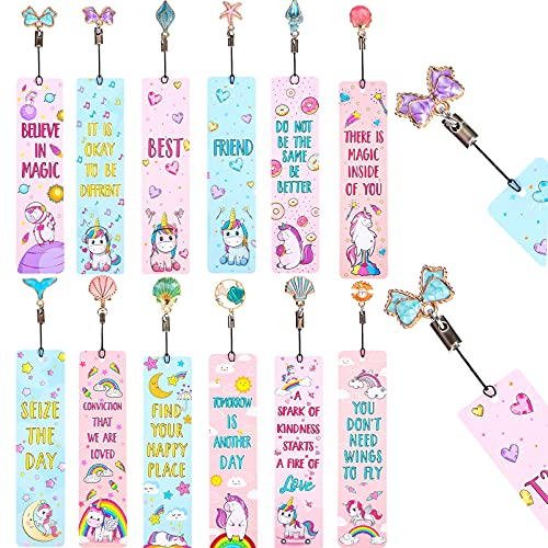 12 Pieces Unicorn and Rainbow Theme Bookmarks with 12 Pieces Metal Charms, Inspirational Quotes Bookmarker Unicorn Page Markers for School Reading Boys Girls Teens and Adults