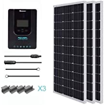Renogy 300 Watt 12 Volt Monocrystalline Solar Starter Kit with 40A Rover MPPT Charge Controller/Mounting Z Brackets/Tray Cable/Adaptor Kit