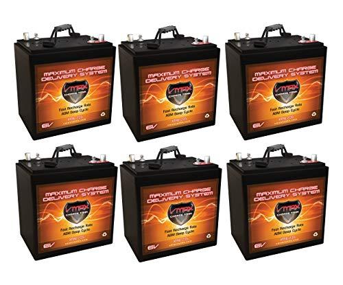 Qty 6 XTR6-235 6V 235AH AGM Solar Battery Bank Qty 6 VMAX Xtreme Series 6V AGM Deep Cycle Batteries 235Ah 6 Volt Maintenance Free 10.2' L x 7.1' W x 10.8' H
