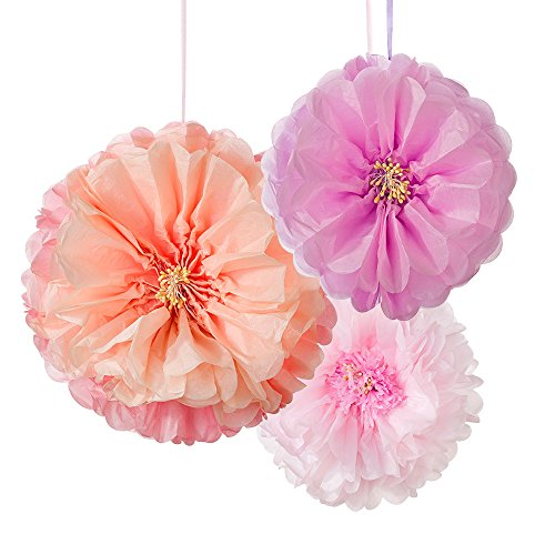 Talking Tables DD-POMFLOWER Décadent Decs Flower Pom Blush Mix Size, 3Pk décorations Parti, Combinaison, Multicolore, 2,5 x 25,5 x 28 cm