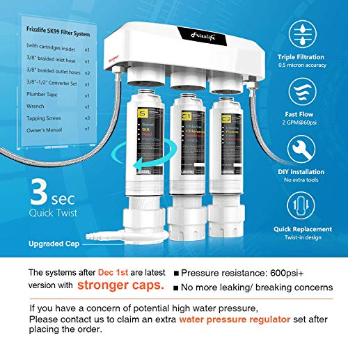 Frizzlife Under Sink Water Filter System SK99, 3-Stage 0.5 Micron High Precision Removes 99.99% Lead, Chlorine, chloramine, Fluoride - Tankless Quick Change