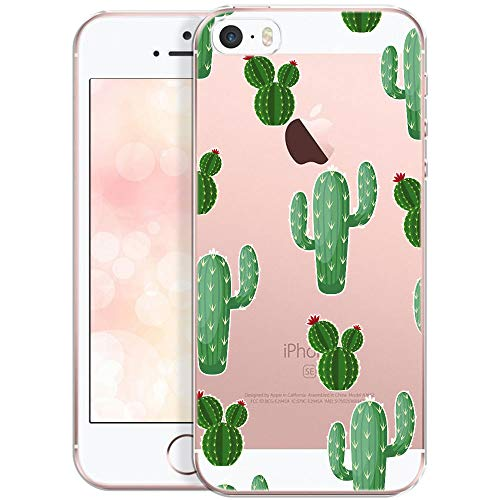 QULT Handyhülle kompatibel mit iPhone 5 iPhone SE iPhone 5s Hülle transparent Silikon Motiv dünn Schutzhülle durchsichtig Case Kakteen mit Blumen