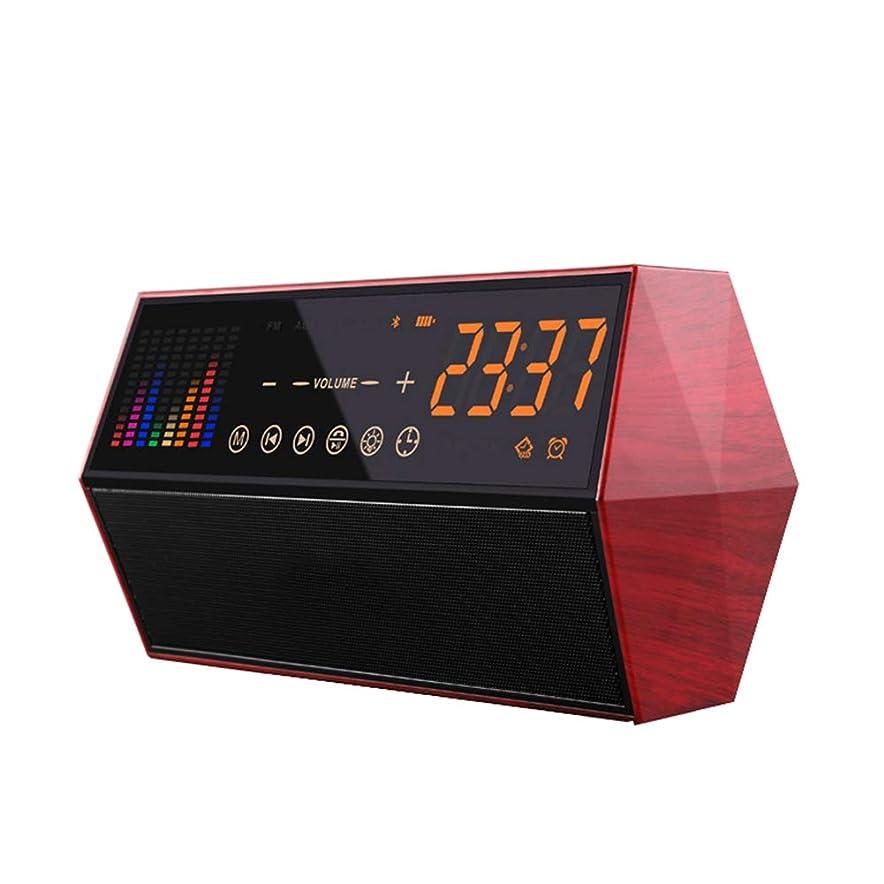 プロトタイプしわブリッジスマート目覚まし時計ブルートゥーススピーカー、Fm ラジオタッチ Led カラフルなスペクトルデュアルスピーカーハンズフリー通話4.2 サポート Bluetooth デバイス12/24 スイッチ,Red