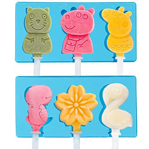 Eisformen Silikon 2 Set, 6 Stück mit Deckel Mini Popsicle Form, BPA Frei, Cakesicle Form DIY Eiscreme Stick Gefrorenes Dessert für Kinder und Erwachsene
