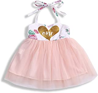 Baby Girl Summer Outfits 1st Birthday Romper Top Sleeveless Floral Tutu Skirt 2Pcs Clothing Set