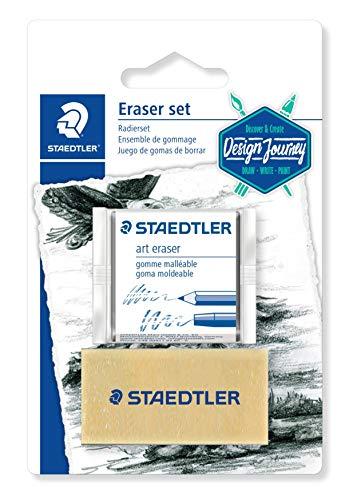 Staedtler Gommes artistiques de haute qualité, Étui blister avec 1 gomme mie de pain et 1 gomme artistique, 5427SBK2-C - version allemande