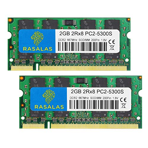 Rasalas PC2-5300 DDR2 667 DDR2 4GB Kit (2x2GB) DDR2 PC2-5300 DDR2 Sodimm PC2-5300S 1.8V CL5 RAM Memory Modules for Intel, MAC, AMD System Notebook Laptop