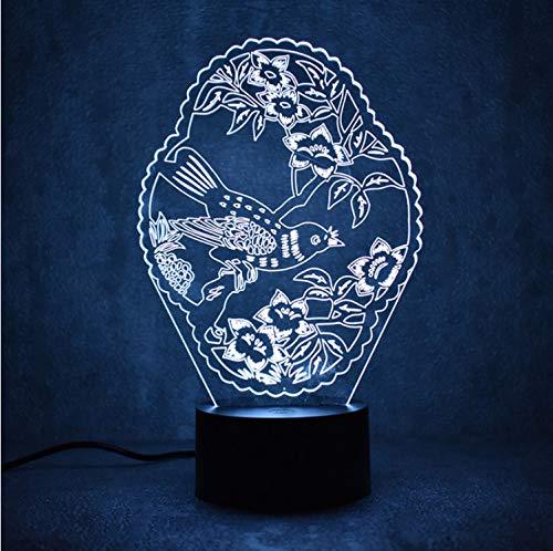 Creative 3D Led Luminaire Coloré Luminaire Usb Lampe De Table Dormir Veilleuse Fleurs Oiseaux Lampe De Mode Décor À La Maison Cadeaux