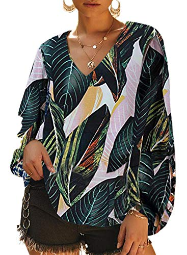 Dokotoo Womens Plus Size Soft Fashion Summer Autumn Leafs Printed Loose Shirts Balloon Long Sleeve V-Neck Plain Blouses and Tops for Jeans Green X-Large