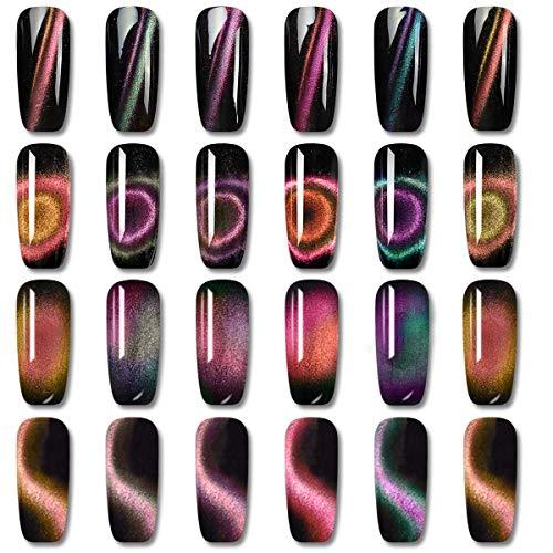 Vrenmol - Juego de esmaltes de uñas de gel magnético 9 D de ojo de gato UV LED, 6 colores, kit de decoración de uñas de 8 ml + palo de imán gratis