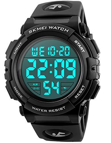 Montre Digitale Militaire Homme Grands Nombres 50M Etanche Désign Armée Montres Sport Alarme Lumière LED Montre Bracelet Electronique Montres pour Hommes Bracelet Caoutchouc
