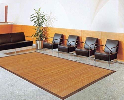 DE-COmmerce Bambusteppich Sense Maß ca. 200x300cm, 17mm Stege Natur mit brauner Bordüre