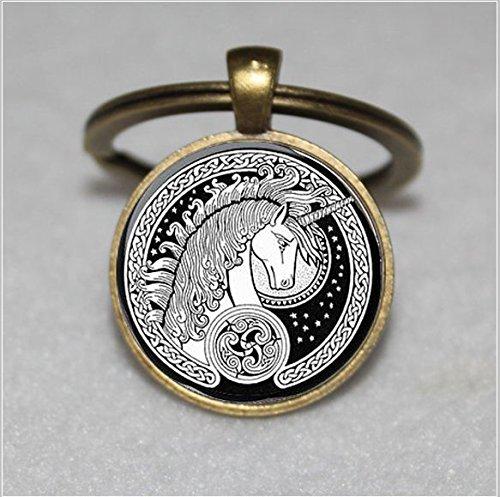Unicorn Art Keychain ,Celtic Unicorn, Black And White Keychain,Silver and Glass Dome Keychain