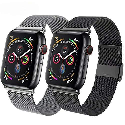 INZAKI Compatibile Cinturino per Apple Watch Cinturino 38mm 40mm 42mm 44mm,Maglia Milanese Cinturino in Acciaio Inossidabile Loop con Magnete Compatibile con IWatch Series SE/6/5/4/3/2/1-2pack