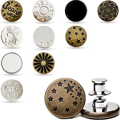 10 Pcs Button Pins for Jeans Replacement Jean Buttons 17mm Metal Buttons Instant Install Button product image