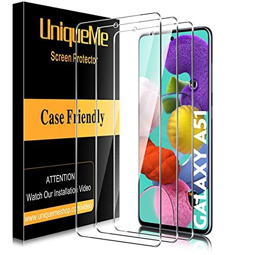 [3 PACK] UniqueMe Protector de pantalla Compatible con Samsung Galaxy A51   Galaxy S20 FE Cristal Templado, [Sin burbujas] Dureza 9H Película transparente HD Vidrio Templado Con marco de instalación