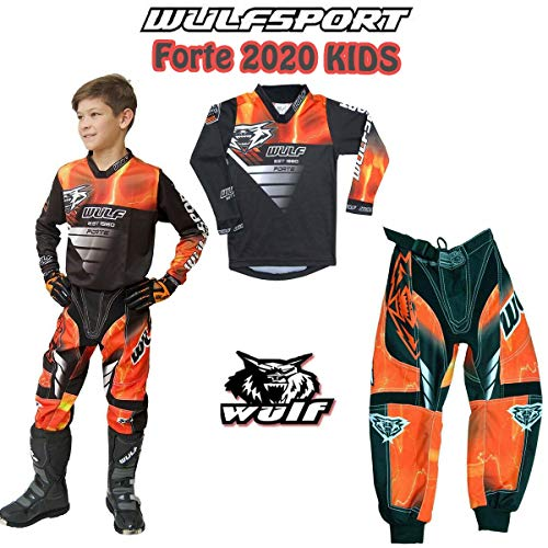 GREEN : SHIRT 8-10 years Kids Race Suit 2019 WULFSPORT AZTEC Jersey and Trouser Motocross Quad Dirt Bike Off Road Enduro Kart ATV MTB BMX Sports Junior Mx Shirt Pant Set GREEN , PANT : 24 inches