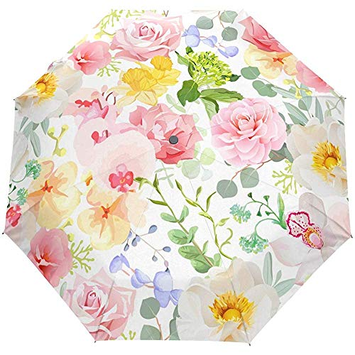 Vintage Rose Pfingstrose Kamelie Französisch Floral Flower Auto Open Umbrella Sun Regen Regenschirm Anti UV Folding Compact Automatic Umbrella