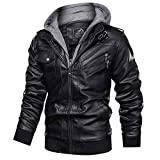 Men's Casual Stand Collar Jackets Pu Faux Leather Motorcycle Jackets Bomber Jacket Feaux Leather Jacket For Men With A Removable Hood