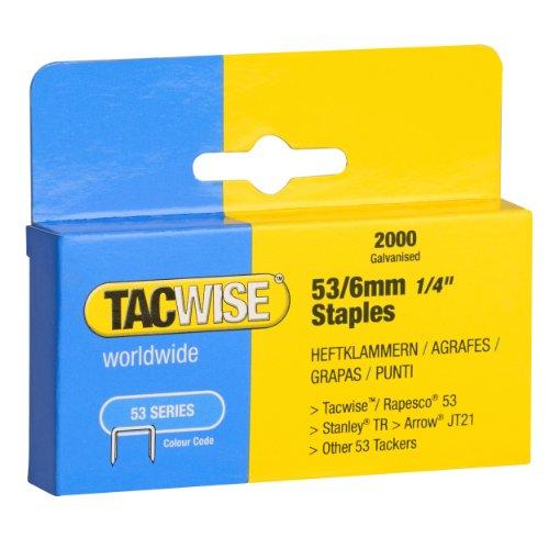 Tacwise 0334 Grapas Galvanizadas de Tipo 53/6 mm-2.000 Unidades, Negro, 6mm, Set de 2000 Piezas