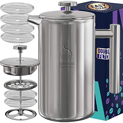 SAMBANGAN French Press Kaffeebereiter Edelstahl Kaffeepresse Kaffeezubereiter 34oz doppelwandige metallisolierte Kaffeeteekocher mit 4-stufigem Filtersystem, rostfrei, spülmaschinenfest (1L)