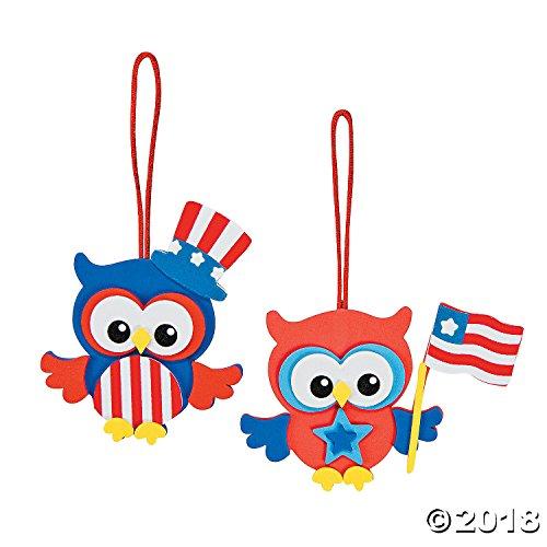Foam Patriotic Owl Ornament Craft Kit (Makes 12) 4th of July